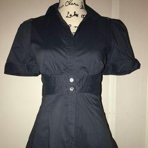 BCBG MaxAzria Blue Short Sleeve Button Up Small